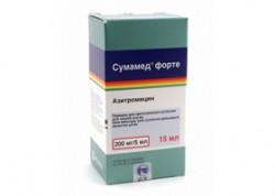Сумамед форте, пор. д/сусп. д/приема внутрь 200 мг/5 мл 16.74 г 15 мл №1